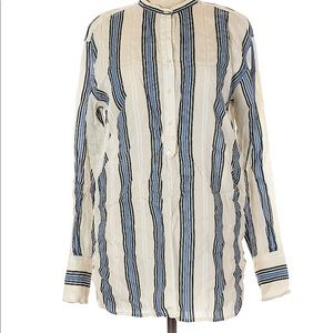 Vince. Stripped Half Button Up Blouse